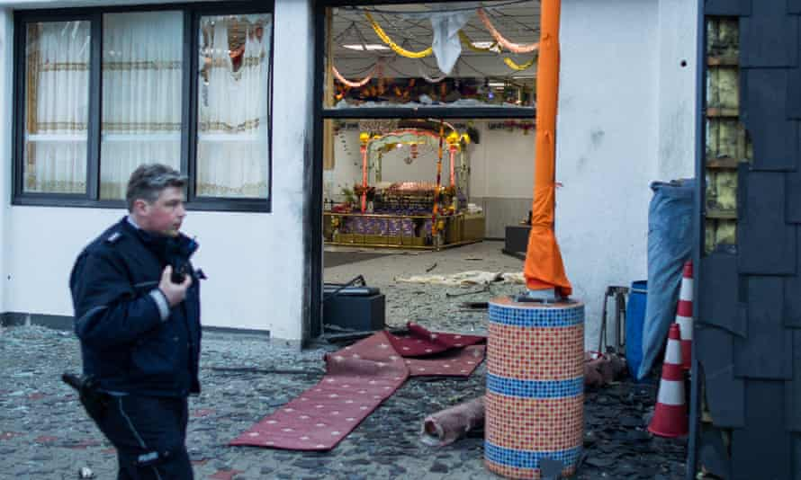 Front of Sikh temple where explosion took place