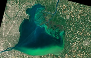 A Nasa image showing algae blooms in Lake St Clair and Lake Erie.