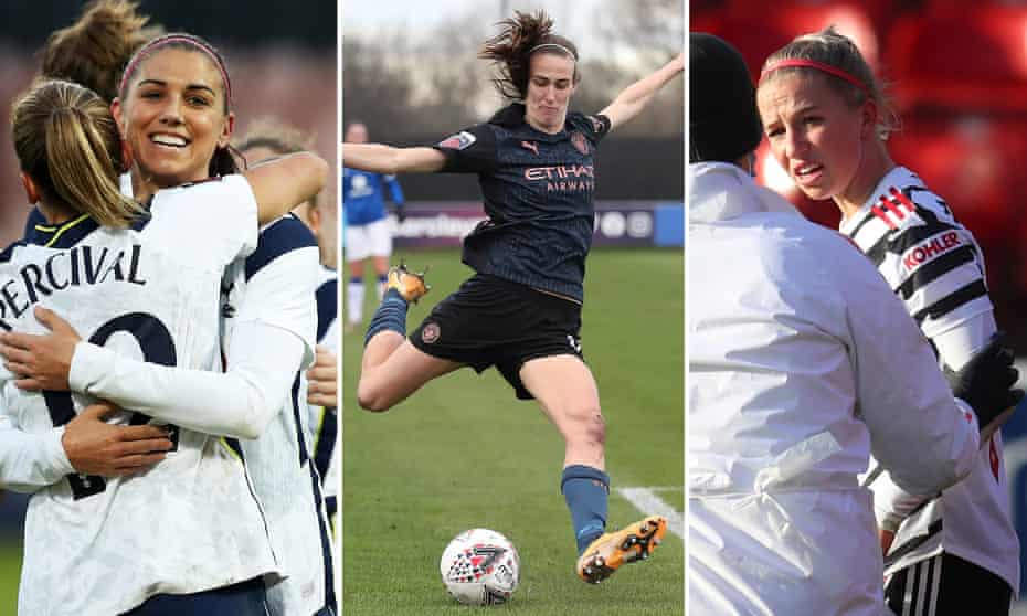 Alex Morgan celebrates scoring for Spurs; Jill Scott impresses on her return for Manchester City, Manchester United's Jackie Groenen receives treatment for a head injury