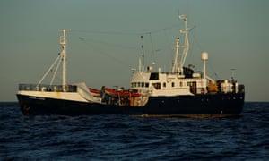 The Alan Kurdi rescue ship off the coast of Malta
