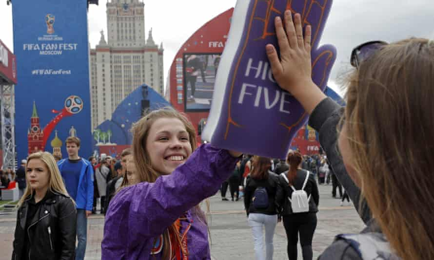 A greeter at the opening of the Fifa Fan Fest in Moscow