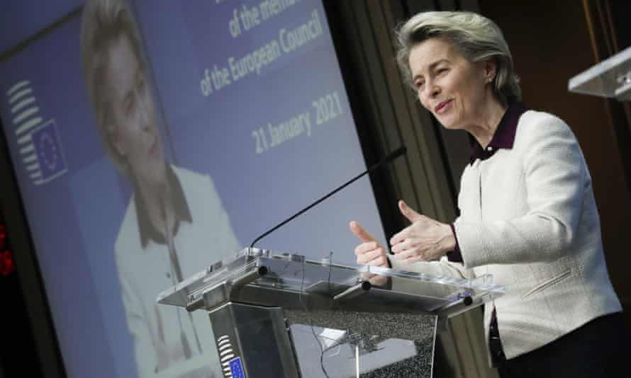 Ursula Von Der Leyen at a news conference in Brussels on 21 January