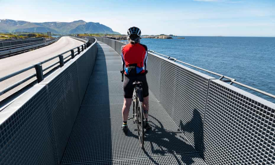 A cyclist on the Atlantic Road causeway, Norway.