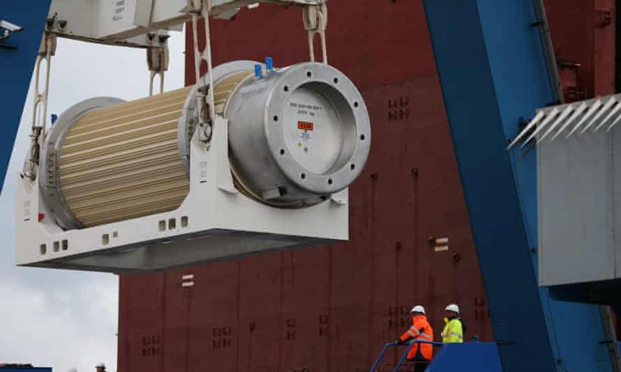 A transport storage cask for the return of high activity waste from reprocessing being loaded onto the BBC Shanghai cargo ship on October 15, 2015 in Cherbourg-Octeville.
