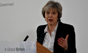 Theresa May making her speech on Brexit last week.