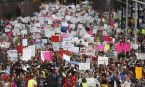 Thousands of people marched through Atlanta one day after President Donald Trump's inauguration.