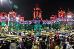 The Chhatrapati Shivaji Maharaj Terminus railway station in Mumbai, a UNESCO World Heritage Site, is illuminated on the 72nd anniversary of Indian Independence  from British rule