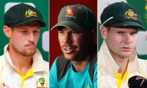 Cameron Bancroft, David Warner and Steve Smith – the three Australian cricket players sanctioned for ball tampering against South Africa.
