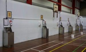 New handwashing stations in the sports hall in Huntington School, York.