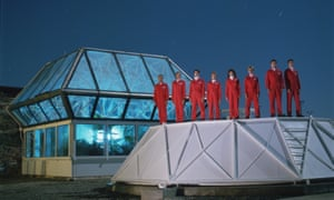 the first 'biospherians' prepare to enter their enclosed environment.
