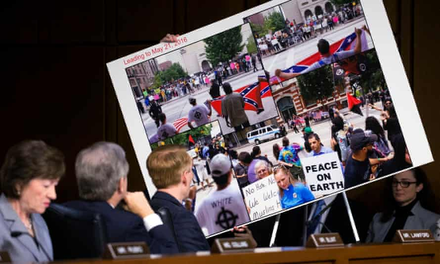 The US senate intelligence committee's hearing on social media influence in the 2016 elections. The graphic shows conflict at a rally that was created and promoted by fake Facebook accounts run by Russian trolls. EPA/SHAWN THEW