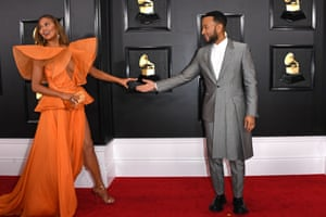 US model Chrissy Teigen and US musician John Legend arrive for the 62nd Annual Grammy Awards.