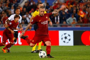 Roma's Radja Nainggolan scores their fourth goal.