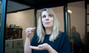 Elle Hunt testing vegan cheese.