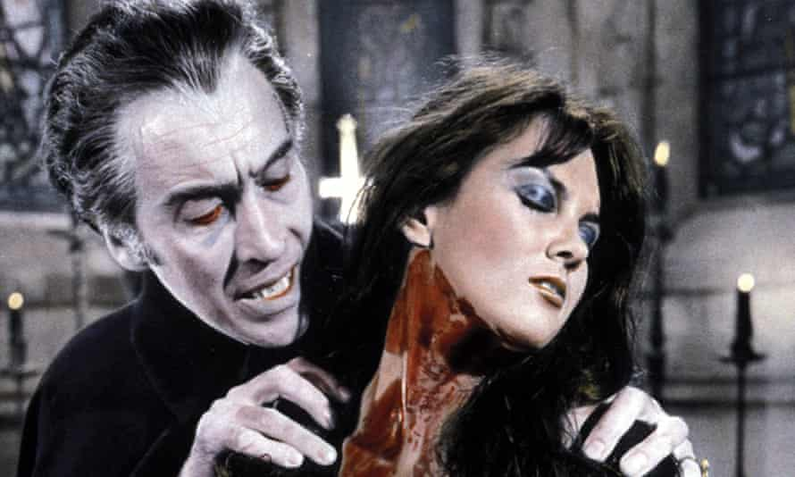 With Christopher Lee in Dracula AD 1972.