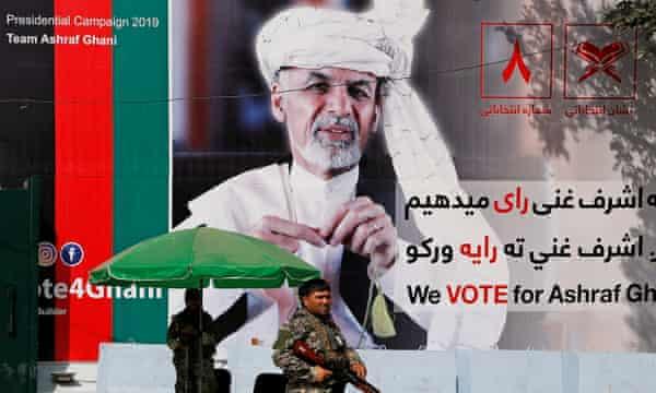 A poster of Afghan presidential candidate Ashraf Ghani in Kabul.