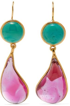 Loulou de la Falaise gold-plated-glass-earrings, £175, Net-a-Porter.