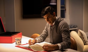 Rishi Sunak working on his spending review speech in his office at 11 Downing Street yesterday.