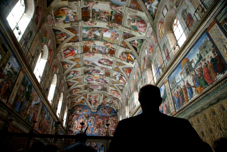 The Sistine Chapel features frescoes of the Genesis and the Last Judgement by Michelangelo.