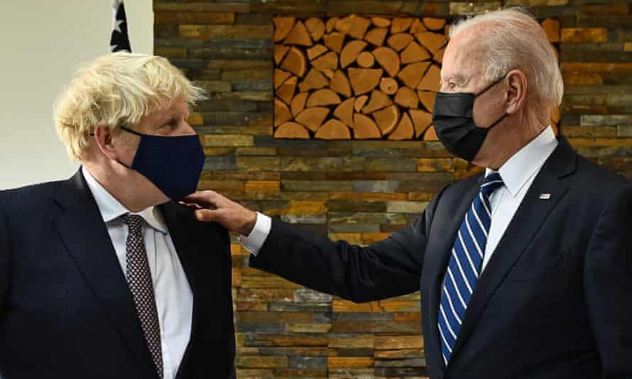 Joe Biden talking to Boris Johnson