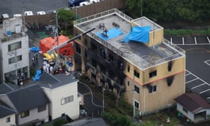The scene after a fire at an animation company killed dozens of people in Kyoto, Japan