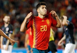 Spain's Marco Asensio celebrates after making it 2-0.