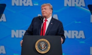 Trump at the NRA summit in Indianapolis last week, where he vowed to protect second amendment rights.