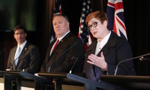 US defence secretary Mark Esper, US secretary of state Mike Pompeo and Australian foreign minister Marise Payne hold a news conference in Sydney in August