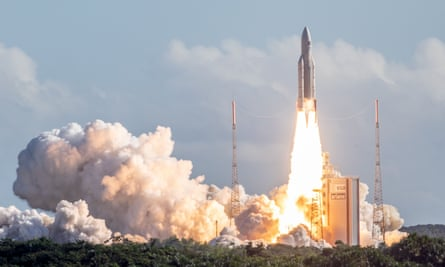 An Ariane 5 rocket with four Galileo satellites onboard lifts off from the European Space Centre in French Guiana.