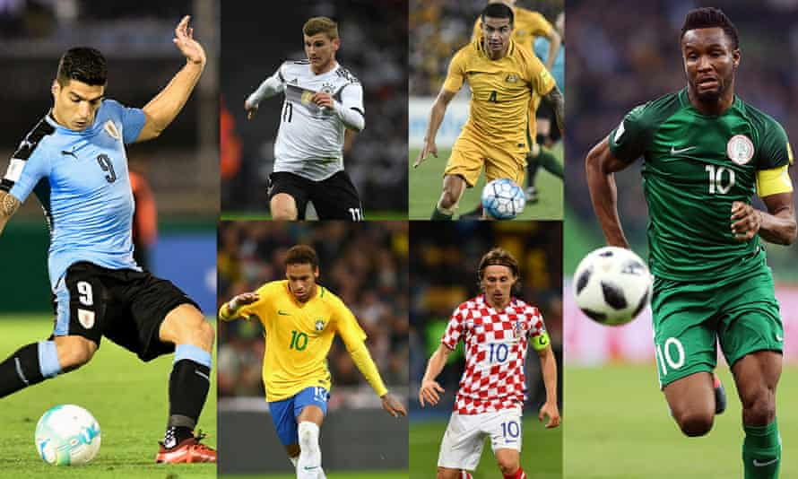 Ready for Russia (clockwise from left): Luis Suárez and Uruguay, Germany's Timo Werner; Tim Cahill of Australia; Jon Obi Mikel of Nigeria; Croatia's Luka Modric and Neymar of Brazil.