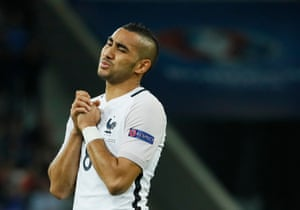 France's Dimitri Payet reacts after a missed chance