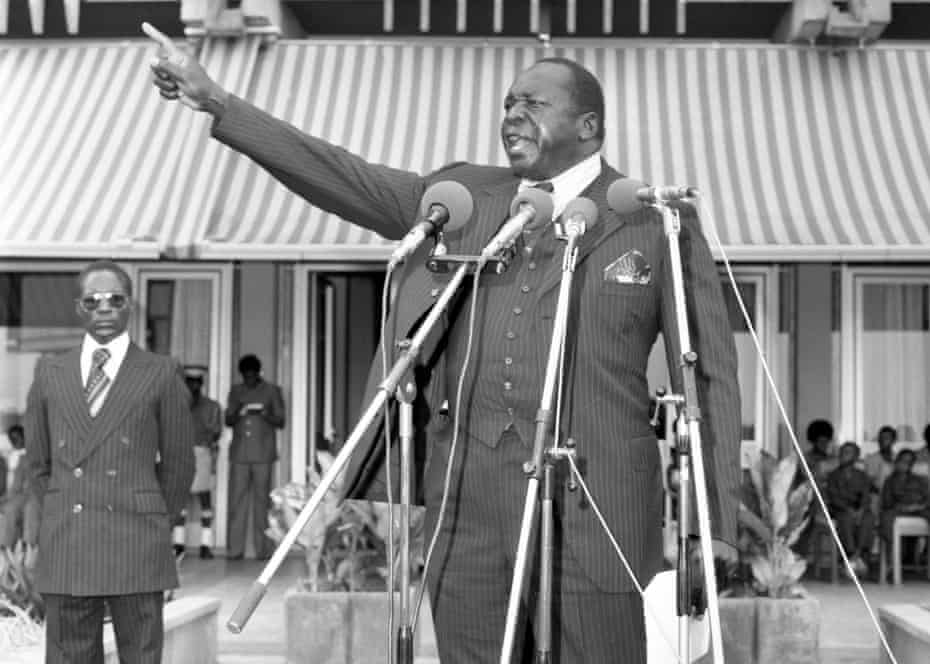 Amin makes a speech at Nile Mansion in 1978.