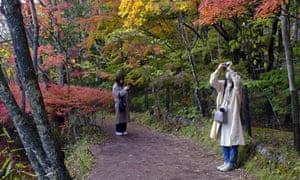 People wearing masks to help curb the spread of the coronavirus photographed while walking along a pathway as trees began to change their autumn leaf color on Monday, October 26, 2020, in Nagano, west. north Tokyo, Japan.