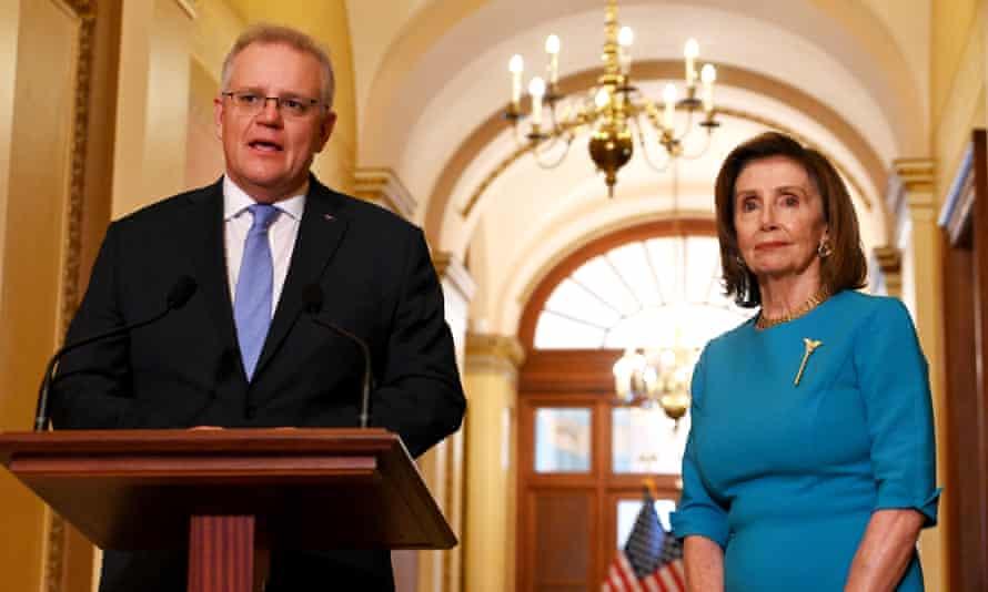 Scott Morrison with US Speaker of the House Nancy Pelosi at the US Capitol on 22 September.