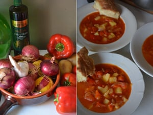 Minestra di patate e peperoni (red pepper, tomato and potato soup).