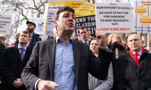 The Greater Manchester mayor, Andy Burnham, speaks at the protest in Westminster on Tuesday.