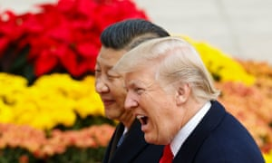 US president Donald Trump takes part in a welcoming ceremony with China's president Xi Jinping in Beijing.