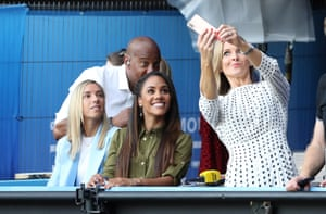 BBC presenters Gabby Logan, Alex Scott, Jordan Nobbs and Dion Dublin pose for a selfie during the Quarter Final match between Norway and England at Stade Oceane.