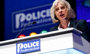 Theresa May addressing the Police Federation conference in 2014 – she announced the end of state funding of the police forces' representative body, and said that if it did not reform itself she would pass legislation forcing it to.