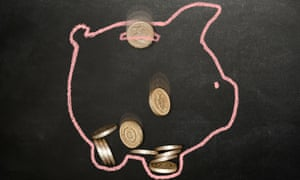 Pound coins and a piggy bank on a blackboard