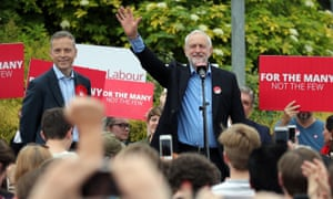 Jeremy Corbyn with candidate Matt Rodda, left, during the Labour leader's visit to Reading East.