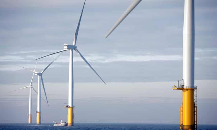 Wind turbines off the coast of north Lincolnshire
