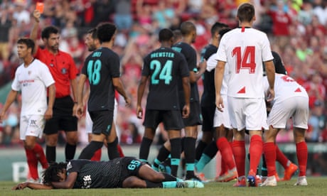 Liverpool wait on Yasser Larouci tests after bruising Fenway Park friendly