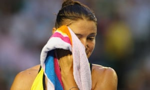 Dinara Safina during her defeat by Serena Williams in the 2009 Australian Open.