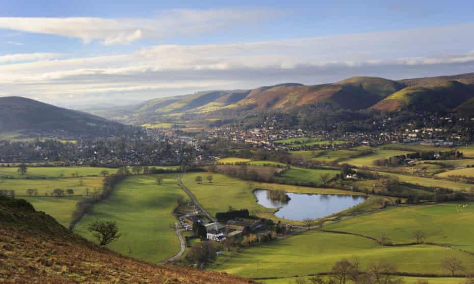 View of Church Stretton and the Long Mynd hills from Caer Caradoc, Shropshire, UK.