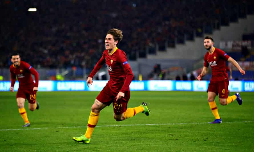 Nicolo Zaniolo celebrates after scoring for Roma against Porto in the Champions League earlier this year.