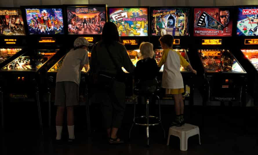 People play on machines at the pinball hall of fame in Las Vegas.
