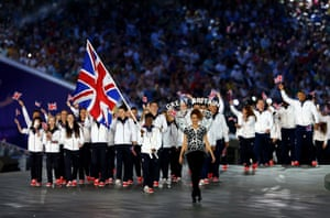 flag bearer and boxer, Nicola Adams of Great Britain leads her team into the stadium during the Opening Ceremony for the Baku 2015 European Games