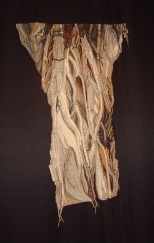 Tree Trunk by Maggie Riegler. She was dramatically original when it came to weaving, using macramé to help create three-dimensional tapestries.