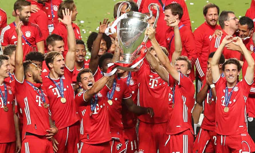 Players celebrates with the Champions League trophy following Bayern Munich's success last August. Plans for a European Super League have been condemned as a 'dangerous scheme'.